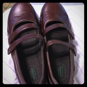 Brown leather Propet slip ons size 8